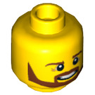 LEGO Yellow Minifigure Head with Brown Beard (Recessed Solid Stud) (11978 / 21022)