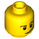LEGO Yellow Minifigure Head with Brown Eyebrows and Lopsided Smile and Black Dimple (Safety Stud) (14807 / 19546 / 59716)