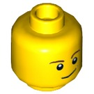 LEGO Yellow Minifigure Head with Brown Eyebrows and Lopsided Smile (Recessed Solid Stud) (14807 / 19546 / 59716)