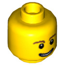 LEGO Yellow Minifigure Head with Brown Eyebrows and Open Smile (Safety Stud) (59714)