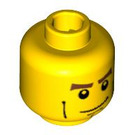 LEGO Yellow Minifigure Head with Chin Dimple & Cheek Lines Decoration (Safety Stud) (48151)