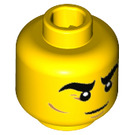 LEGO Yellow Minifigure Head with Decoration (Recessed Solid Stud) (32613)