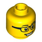 LEGO Yellow Minifigure Head with Glasses and Open Mouth Smile (Safety Stud) (94575)