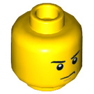 LEGO Yellow Minifigure Head with Grumpy Dimple (Recessed Solid Stud) (14783 / 19542)