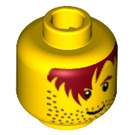 LEGO Yellow Minifigure Head with Messy Hair, Stubble, Thick Black Eyebrows (Safety Stud) (83697)