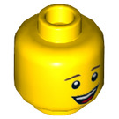 LEGO Yellow Minifigure Head with Open Mouth Smile (Recessed Solid Stud) (37481)