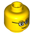 LEGO Yellow Minifigure Head with Rectangular Glasses (Recessed Solid Stud) (13629 / 46506)
