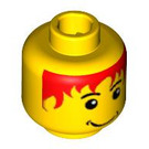 LEGO Minifigure Head with Red Hair Decoration (Safety Stud) (3626 / 42523)