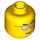 LEGO Yellow Minifigure Head with Silver Sunglasses Decoration (Recessed Solid Stud) (12487 / 21024 / 45939)