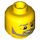 LEGO Yellow Minifigure Head with Smile, Beard, and Eye Wrinkles (Recessed Solid Stud) (11960 / 19549)