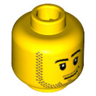 LEGO Yellow Minifigure Head with Smirk and Stubble Beard (Recessed Solid Stud) (14070 / 51523)