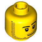 LEGO Yellow Minifigure Head with Smirk and Stubble Beard (Recessed Solid Stud) (14070 / 51523 / 95560)