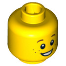 LEGO Yellow Minifigure Head with Surprised Smile and Freckles (Recessed Solid Stud) (12327 / 90787 / 96409)