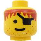 LEGO Yellow Pirates Head with Red Hair and Eyepatch (Safety Stud)