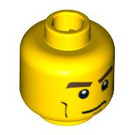 LEGO Yellow Plain Head with Cheek Lines, Mouth Closed / Mouth Open Scared (Safety Stud) (88938)