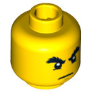 LEGO Yellow Plain Head with Decoration (Recessed Solid Stud) (15009 / 93619 / 94055)