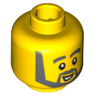 LEGO Yellow Plain Head with Decoration (Safety Stud) (14910 / 51519)