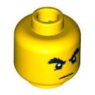 LEGO Yellow Head with Bushy Eyebrows, grim (Safety Stud) (15009 / 93619)