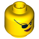 LEGO Yellow Plain Head with Decoration (Safety Stud) (64904 / 74110)