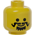 LEGO Yellow Plain Head with Goatee and Curled Moustache (Safety Stud)
