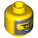 LEGO Yellow Plain Head with Gray Beard and Sideburns (Safety Stud) (64877)
