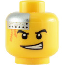 LEGO Yellow Plain Head with Silver Plate and Orange Scars, Determined / Scared (Safety Stud) (64881)