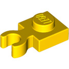 LEGO Yellow Plate 1 x 1 with Vertical Clip (Thick Open 'O' Clip) (60897)