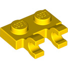 LEGO Yellow Plate 1 x 2 with Horizontal Clips (flat fronted clips) (60470)