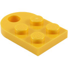 LEGO Yellow Plate 2 x 3 with Rounded End and Pin Hole (3176)