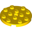 LEGO Yellow Plate 4 x 4 Round with Hole and Snapstud (60474)
