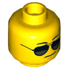 LEGO Yellow Police Officer with Sunglasses Plain Head (Recessed Solid Stud) (21023)