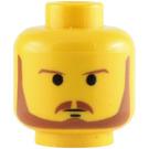 LEGO Yellow Qui-Gon Jinn Head (Safety Stud) (3626)