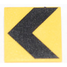 LEGO Yellow Roadsign Clip-on 2 x 2 Square with Black Chevron with Type 1 Clip