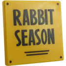 """LEGO Yellow Roadsign Clip-on 2 x 2 Square with Sign """"RABBIT SEASON"""" with Open 'O' Clip"""