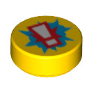 LEGO Yellow Round Tile 1 x 1 with Decoration (29722)