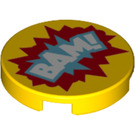 LEGO Yellow Round Tile 2 x 2 with 'BAM!' Decoration with Bottom Stud Holder (29368)