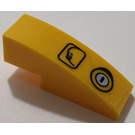 LEGO Yellow Slope 1 x 3 Curved with Sticker from Set 7249