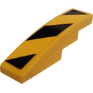 LEGO Yellow Slope 1 x 4 Curved with Hazard Stripes Sticker