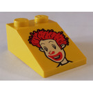 LEGO Yellow Slope 2 x 3 (25°) with Decoration with Smooth Surface