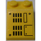 LEGO Yellow Slope 25° (33) 2 x 3 with Grille and Hatch Sticker