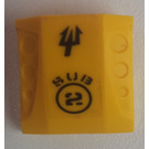 LEGO Yellow Slope Curved Top 2 x 2 x 1 with Dimples, Stickered 'SUB 2'