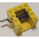 LEGO Yellow String Reel Winch 4 x 4 x 2 with Black Drum and Metal Handle