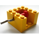 LEGO Yellow String Reel Winch 4 x 4 x 2 with Red Drum and Metal Handle