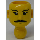 LEGO Yellow Technic Action Figure Head with Mustache, White Pupils