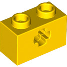 LEGO Yellow Technic Brick 1 x 2 with Axle Hole (New Style with 'X' Opening) (32064)