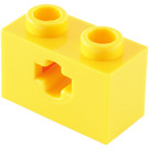 LEGO Yellow Technic Brick 1 x 2 with Axle Hole (Old Style with '+' Opening) (31493 / 32064)