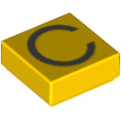 LEGO Yellow Tile 1 x 1 with 'C' Decoration with Groove (13408)
