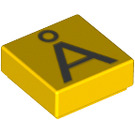 LEGO Yellow Tile 1 x 1 with Decoration with Groove (13438)