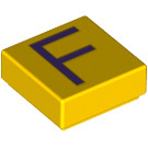LEGO Yellow Tile 1 x 1 with 'F' Decoration with Groove (13412)
