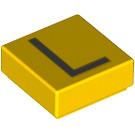 LEGO Yellow Tile 1 x 1 with Letter L Decoration with Groove (13420)